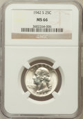 Washington Quarters: , 1942-S 25C MS66 NGC. NGC Census: (260/61). PCGS Population(233/32). Mintage: 19,384,000. Numismedia Wsl. Price for problem...