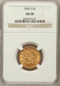 Liberty Half Eagles: , 1896-S $5 AU58 NGC. NGC Census: (101/63). PCGS Population (25/60).Mintage: 155,400. Numismedia Wsl. Price for problem free...