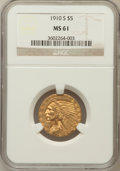 Indian Half Eagles, 1910-S $5 MS61 NGC....