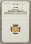 Gold Dollars: , 1852 G$1 AU58 NGC. NGC Census: (566/3048). PCGS Population(420/1411). Mintage: 2,045,351. Numismedia Wsl. Price for proble...
