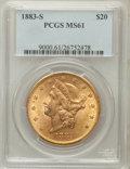 Liberty Double Eagles: , 1883-S $20 MS61 PCGS. PCGS Population (470/894). NGC Census:(703/486). Mintage: 1,189,000. Numismedia Wsl. Price for probl...