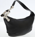 Luxury Accessories:Bags, Jean Paul Gaultier Black Leather Shoulder Bag with Silver HorsebitDetail . ...