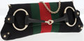 Luxury Accessories:Bags, Gucci Black Monogram Canvas with Web Stripe Horsebit Clutch withChain Strap. ...