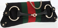 Gucci Black Monogram Canvas with Web Stripe Horsebit Clutch with Chain Strap
