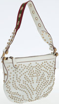 Luxury Accessories:Bags, Gucci White Leather Studded Shoulder Bag. ...