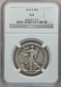 Walking Liberty Half Dollars: , 1916-S 50C Good 4 NGC. NGC Census: (61/647). PCGS Population(119/1123). Mintage: 508,000. Numismedia Wsl. Price for proble...