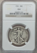 Walking Liberty Half Dollars: , 1921 50C Good 4 NGC. NGC Census: (112/707). PCGS Population(170/1185). Mintage: 246,000. Numismedia Wsl. Price for problem...