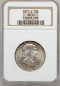 Franklin Half Dollars: , 1951-D 50C MS65 NGC. NGC Census: (148/2). PCGS Population (91/1).Mintage: 9,475,200. Numismedia Wsl. Price for problem fre...