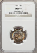 Jefferson Nickels, 1944-S 5C MS64+ NGC. NGC Census: (21/4409). PCGS Population(96/3452). Mintage: 21,640,000. Numismedia Wsl. Price for probl...