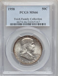 Franklin Half Dollars: , 1958 50C MS66 PCGS. Ex: Teich Family Collection. PCGS Population(1497/34). NGC Census: (929/29). Mintage: 4,000,000. Numis...
