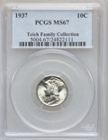 Mercury Dimes: , 1937 10C MS67 PCGS. Ex: Teich Family Collection. PCGS Population(179/8). NGC Census: (406/14). Mintage: 56,865,756. Numism...