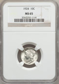 Mercury Dimes: , 1924 10C MS65 NGC. NGC Census: (48/37). PCGS Population (42/22).Mintage: 24,010,000. Numismedia Wsl. Price for problem fre...