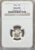Mercury Dimes: , 1924 10C MS64 Full Bands NGC. NGC Census: (97/176). PCGS Population(190/238). Mintage: 24,010,000. Numismedia Wsl. Price f...