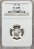Mercury Dimes: , 1924 10C MS65 Full Bands NGC. NGC Census: (101/75). PCGS Population(145/93). Mintage: 24,010,000. Numismedia Wsl. Price fo...