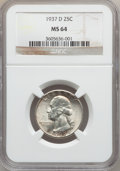 Washington Quarters: , 1937-D 25C MS64 NGC. NGC Census: (341/505). PCGS Population(726/1089). Mintage: 7,189,600. Numismedia Wsl. Price for probl...