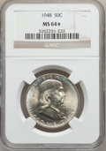 Franklin Half Dollars: , 1948 50C MS64 ★ NGC. NGC Census: (454/485). PCGS Population(649/322). Mintage: 3,006,814. Nu...