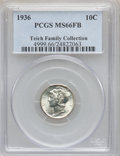 Mercury Dimes: , 1936 10C MS66 Full Bands PCGS. Ex: Teich Family Collection. PCGSPopulation (666/190). NGC Census: (200/75). Mintage: 87,50...