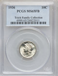 Mercury Dimes: , 1936 10C MS65 Full Bands PCGS. Ex: Teich Family Collection. PCGSPopulation (721/856). NGC Census: (186/275). Mintage: 87,5...