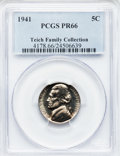 Proof Jefferson Nickels: , 1941 5C PR66 PCGS. Ex: Teich Family Collection. PCGS Population(559/85). NGC Census: (424/71). Mintage: 18,720. Numismedia...