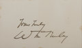 Autographs:U.S. Presidents, William McKinley, 25th President of the United States. Signature onSmall Card. Very good....