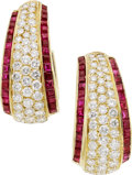 Estate Jewelry:Earrings, Diamond, Ruby, Gold Earrings, Van Cleef & Arpels. ...