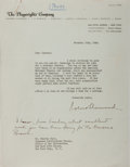 Autographs:Authors, Robert E. Sherwood, American Playwright. Typed Letter Signed withAutograph Notes. Very good....