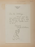 Autographs:Artists, Gluyas Williams, Cartoonist for The New Yorker. AutographLetter Signed with Original Drawing. Tipped to paper. ...