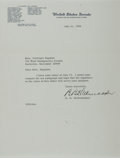 Autographs:Statesmen, Bourke B. Hickenlooper, US Senator from Iowa. Typed Letter Signed.Overall fine....