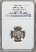 Three Cent Nickels: , 1867 3CN -- Obv Scratched -- NGC Details. UNC. NGC Census: (1/402).PCGS Population (4/454). Mintage: 3,915,000. Numismedia...