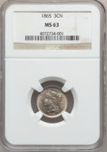Three Cent Nickels: , 1865 3CN MS63 NGC. NGC Census: (376/684). PCGS Population(509/646). Mintage: 11,382,000. Numismedia Wsl. Price forproblem...