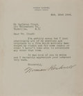 Autographs:Artists, Norman Rockwell, American Artist. Typed Letter Signed. Verygood....
