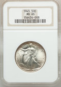 Walking Liberty Half Dollars: , 1945 50C MS65 NGC. NGC Census: (4321/1566). PCGS Population(5968/1860). Mintage: 31,502,000. Numismedia Wsl. Price for pro...