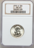 Washington Quarters: , 1945-D 25C MS67 NGC. NGC Census: (125/1). PCGS Population (26/0).Mintage: 12,341,600. Numismedia Wsl. Price for problem fr...