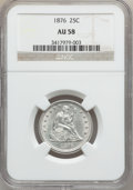 Seated Quarters: , 1876 25C AU58 NGC. NGC Census: (50/338). PCGS Population (49/414).Mintage: 17,817,150. Numismedia Wsl. Price for problem f...