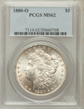 Morgan Dollars: , 1880-O $1 MS62 PCGS. PCGS Population (2448/3460). NGC Census:(1848/2897). Mintage: 5,305,000. Numismedia Wsl. Price for pr...