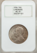 Commemorative Silver: , 1936 50C Lynchburg MS65 NGC. NGC Census: (990/542). PCGS Population(1284/678). Mintage: 20,013. Numismedia Wsl. Price for ...
