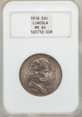 Commemorative Silver: , 1918 50C Lincoln MS64 NGC. NGC Census: (1739/1446). PCGS Population(2193/1805). Mintage: 100,058. ...