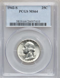 Washington Quarters: , 1942-S 25C MS64 PCGS. PCGS Population (521/788). NGC Census:(293/666). Mintage: 19,384,000. Numismedia Wsl. Price for prob...