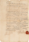 Autographs:Statesmen, William Penn Partially-Printed Document Signed...