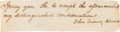 Autographs:U.S. Presidents, John Quincy Adams Note Signed....