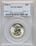 Washington Quarters: , 1936-S 25C MS65 PCGS. PCGS Population (792/248). NGC Census:(439/156). Mintage: 3,828,000. Numismedia Wsl. Price for probl...