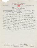 Autographs:Authors, Ernest Hemingway Insurance Claim Written in His Hand and Signed....