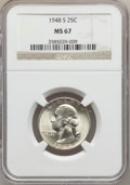 Washington Quarters: , 1948-S 25C MS67 NGC. NGC Census: (282/1). PCGS Population (48/1).Mintage: 15,960,000. Numismedia Wsl. Price for problem fr...