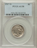 Buffalo Nickels: , 1917-S 5C AU58 PCGS. PCGS Population (82/458). NGC Census:(65/344). Mintage: 4,193,000. Numismedia Wsl. Price for problem ...