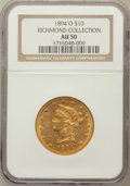 Liberty Eagles, 1894-O $10 AU50 NGC.Ex: Richmond Collection. NGC Census: (32/723).PCGS Population (40/371). Mintage: 107,500. Numismed...