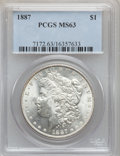 Morgan Dollars: , 1887 $1 MS63 PCGS. PCGS Population (44222/70833). NGC Census:(50374/105239). Mintage: 20,290,710. Numismedia Wsl. Price fo...