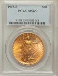 Saint-Gaudens Double Eagles: , 1915-S $20 MS65 PCGS. PCGS Population (1948/189). NGC Census:(1611/152). Mintage: 567,500. Numismedia Wsl. Price for probl...
