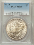 Morgan Dollars: , 1921-S $1 MS64 PCGS. PCGS Population (3394/798). NGC Census:(4926/801). Mintage: 21,695,000. Numismedia Wsl. Price for pro...