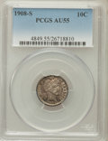 Barber Dimes: , 1908-S 10C AU55 PCGS. PCGS Population (14/112). NGC Census: (6/59).Mintage: 3,220,000. Numismedia Wsl. Price for problem f...