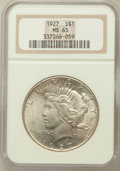 Peace Dollars: , 1927 $1 MS63 NGC. NGC Census: (1517/1087). PCGS Population(2288/1979). Mintage: 848,000. Numismedia Wsl. Price for problem...